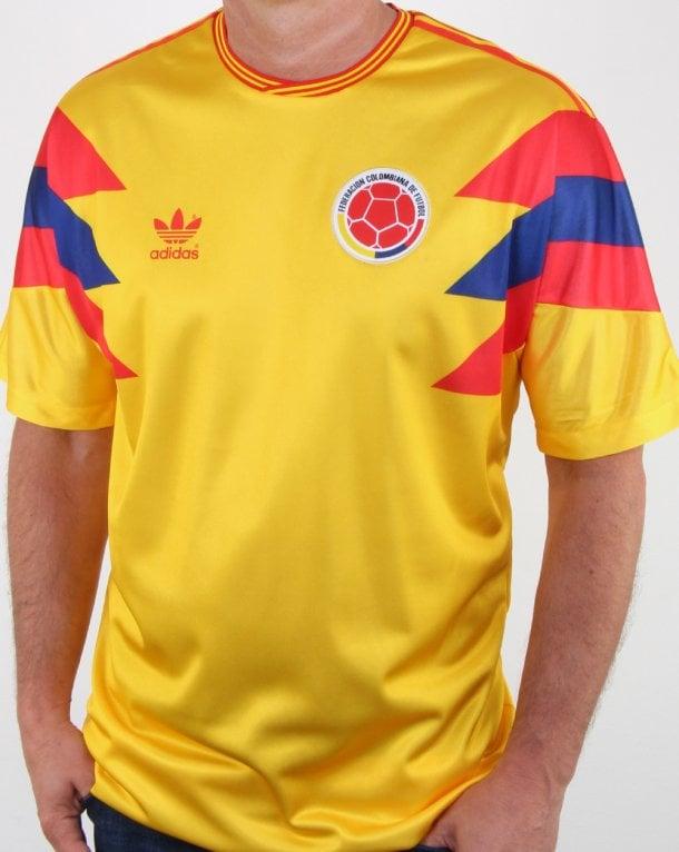 aa08da5de Adidas Originals Colombia Jersey Pure Yellow, Mens, Football, 1990