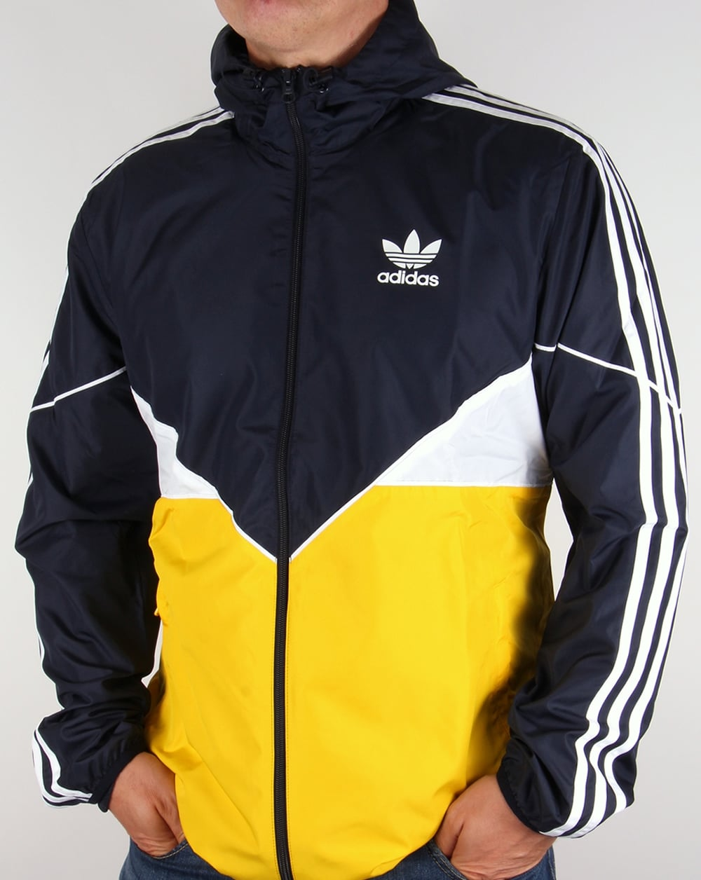 adidas originals colorado windbreaker navy yellow jacket. Black Bedroom Furniture Sets. Home Design Ideas