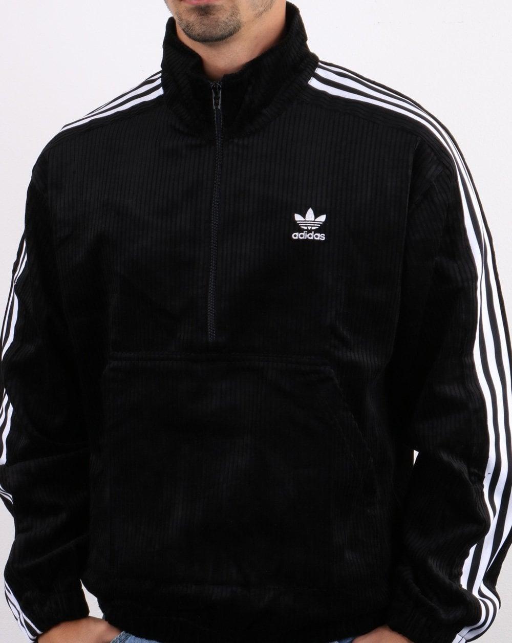 Adidas Originals Cord Half Zip Top Black