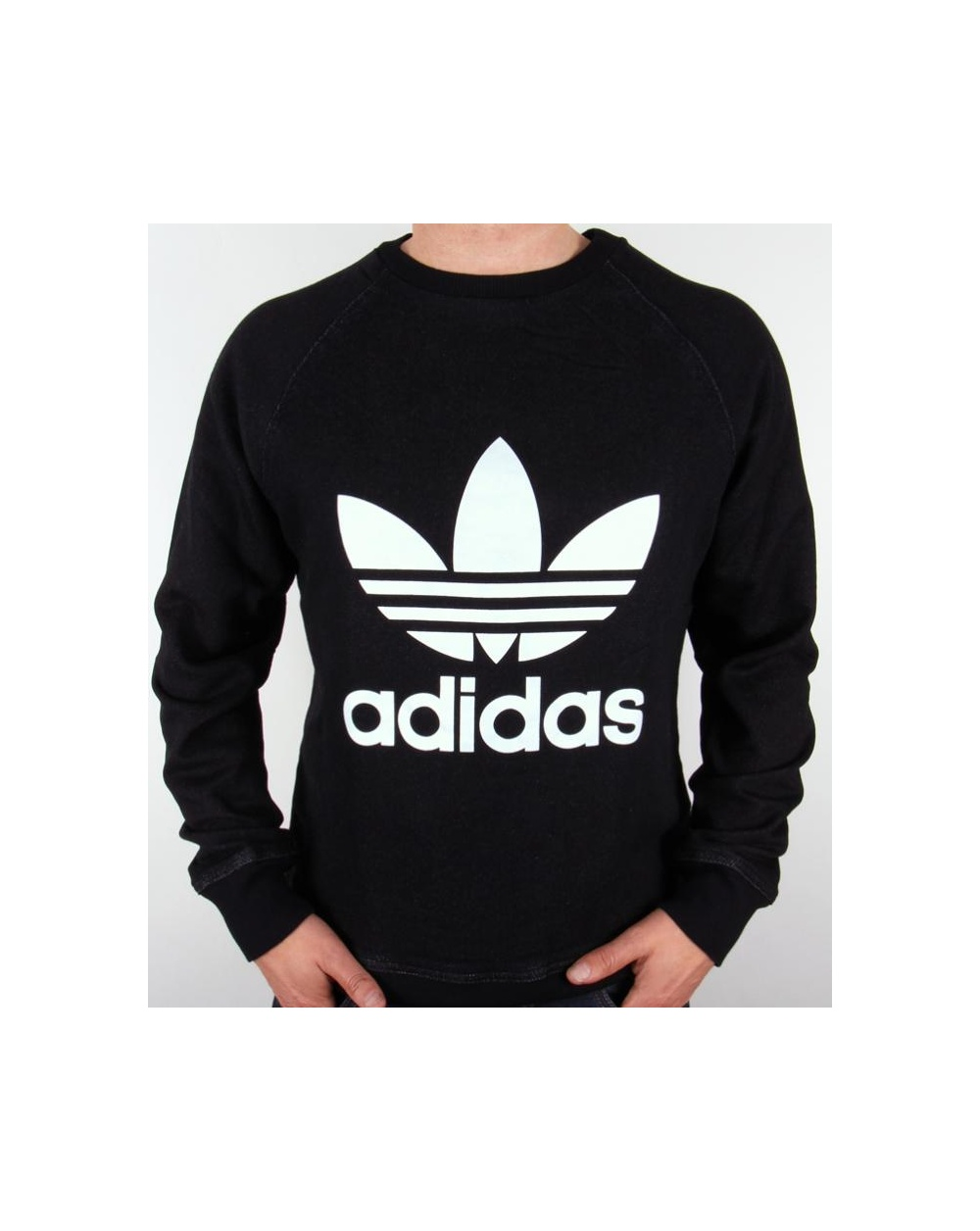 adidas originals denim crew neck sweatshirt black. Black Bedroom Furniture Sets. Home Design Ideas