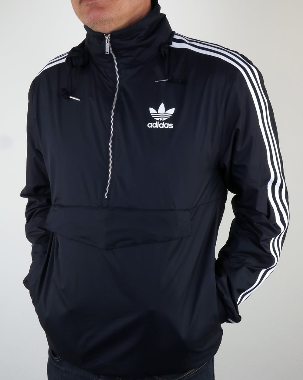adidas originals mdn windbreaker navy jacket lightweight mens. Black Bedroom Furniture Sets. Home Design Ideas