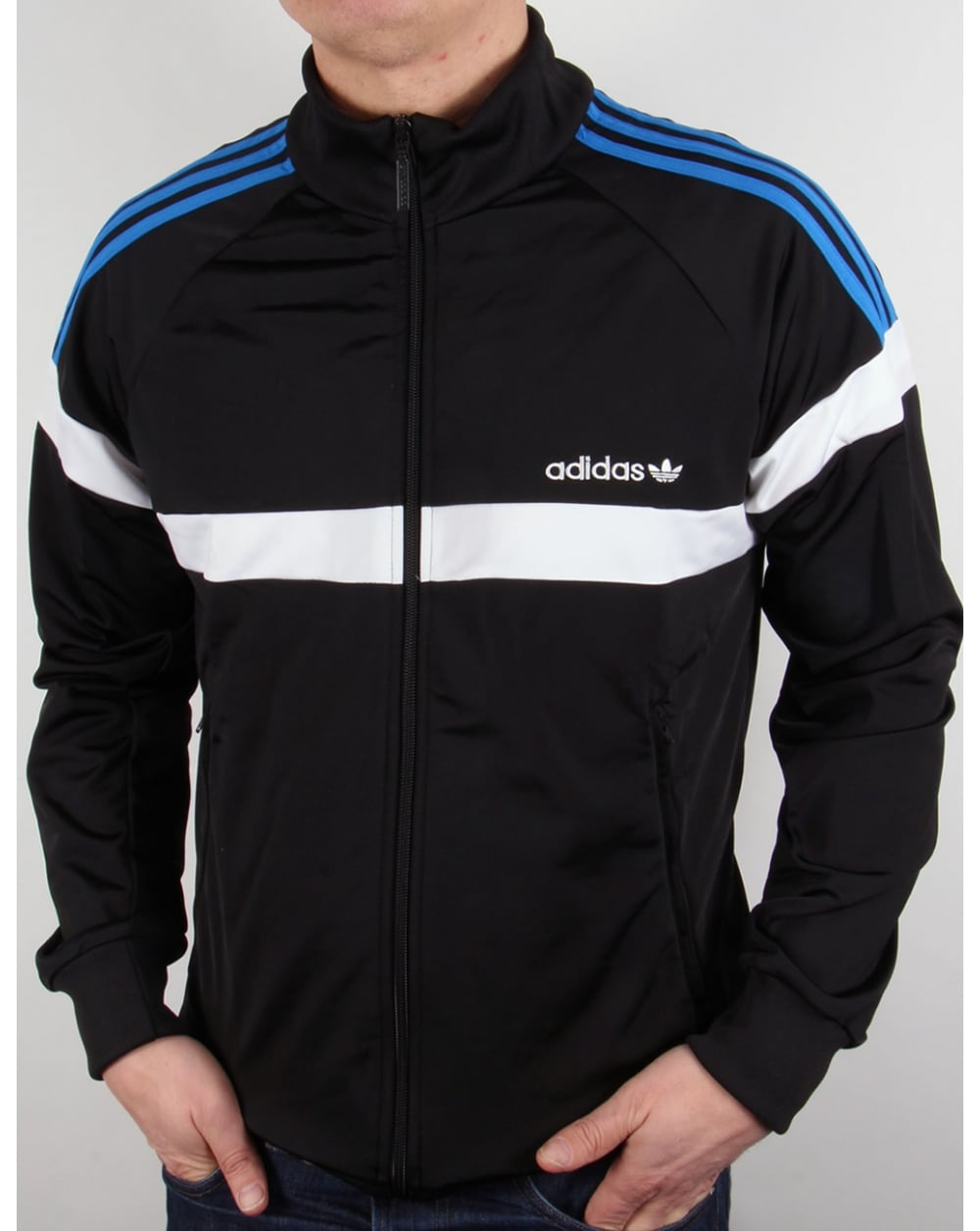 adidas originals itasca track top black white jacket tracksuit. Black Bedroom Furniture Sets. Home Design Ideas