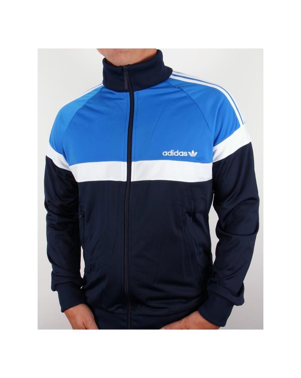 Adidas Top Ten Hi Sleek Bow Zip Trainers: Adidas Originals Itasca Track Top Navy/royal Blue