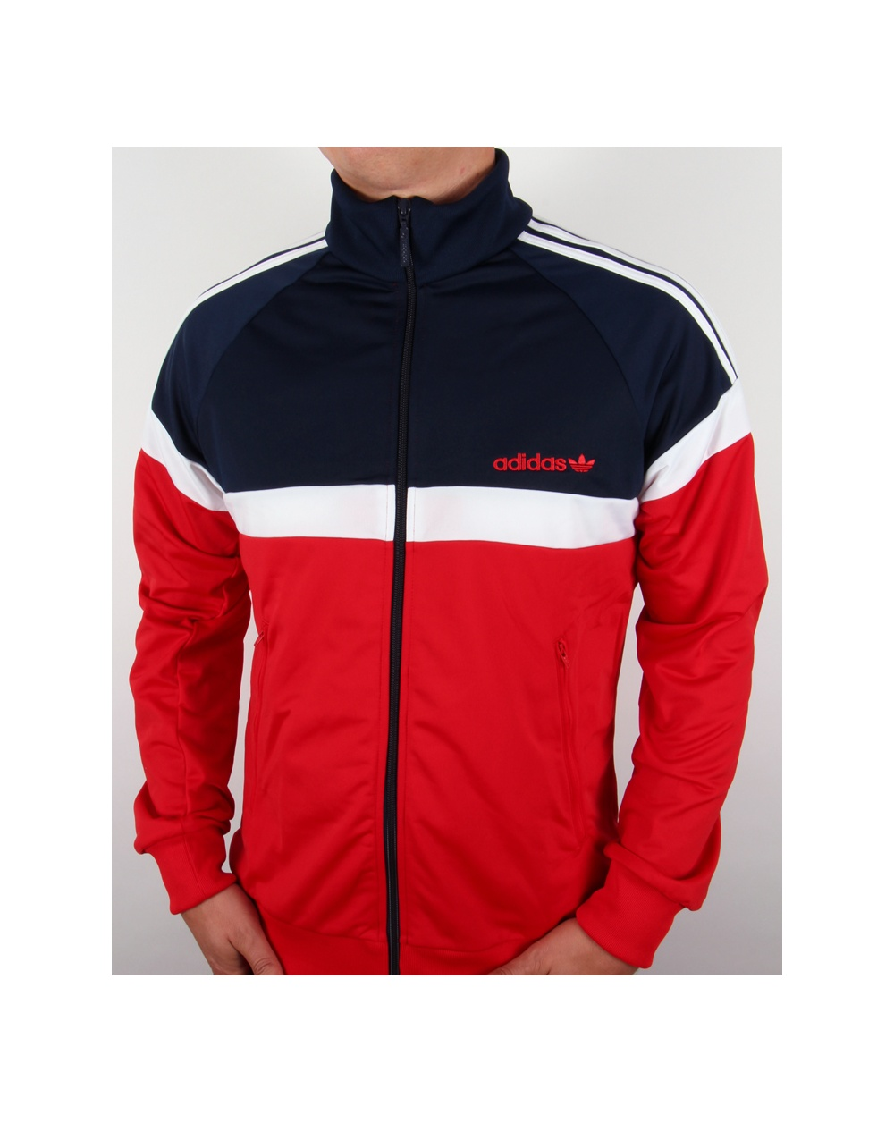 Adidas Originals Itasca Track Top Red Navy Jacket Tracksuit Mens