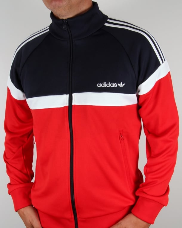 Adidas Originals Itasca Track Top Red Navy Jacket Tracksuit