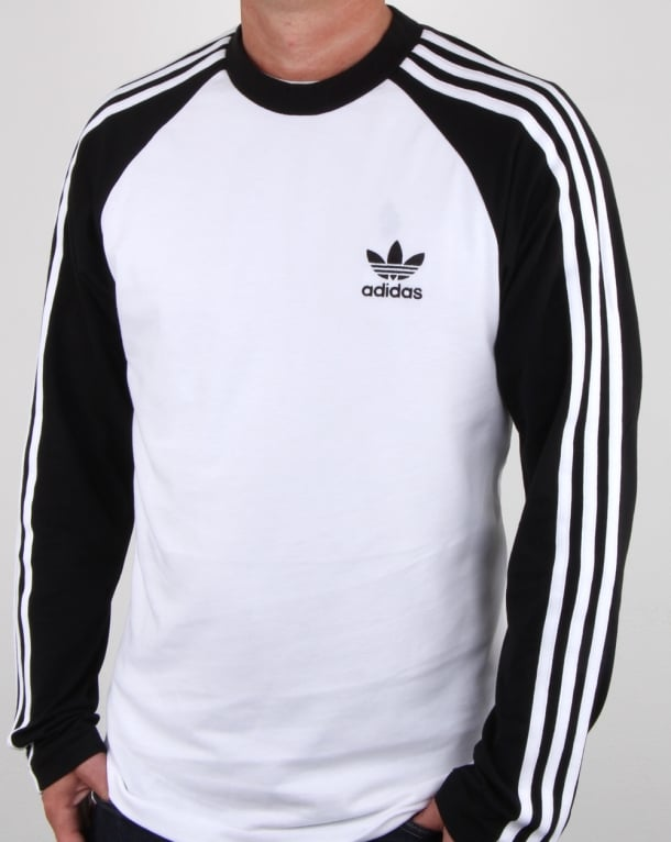 Adidas Originals Long Sleeve 3 Stripes T Shirt White Black Tee Mens
