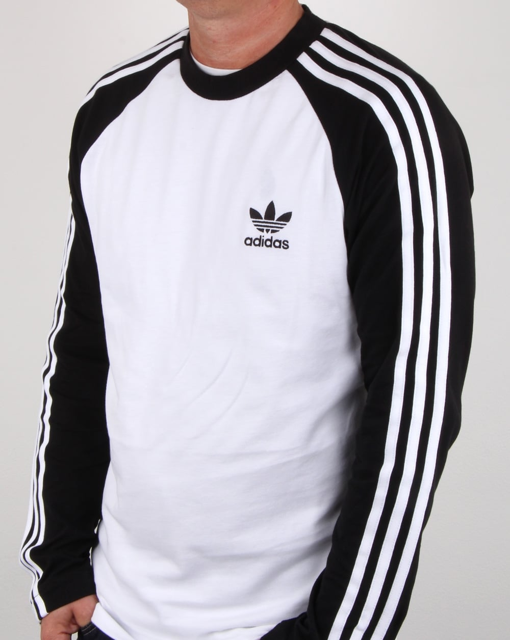 adidas Originals Adidas Originals Long Sleeve 3 Stripes T Shirt White Black 0642473b0