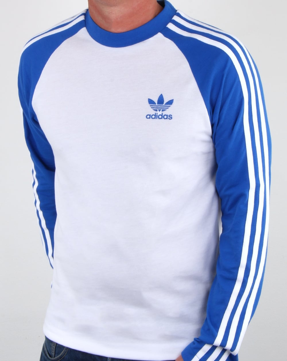 Adidas Originals Long Sleeve 3 Stripes T Shirt Whiteblue