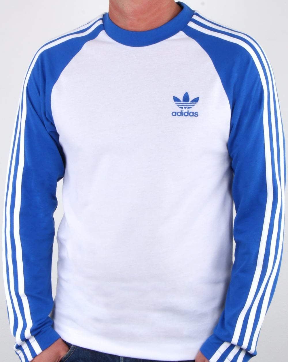 Adidas originals long sleeve 3 stripes t shirt white blue for Blue and white striped long sleeve t shirt