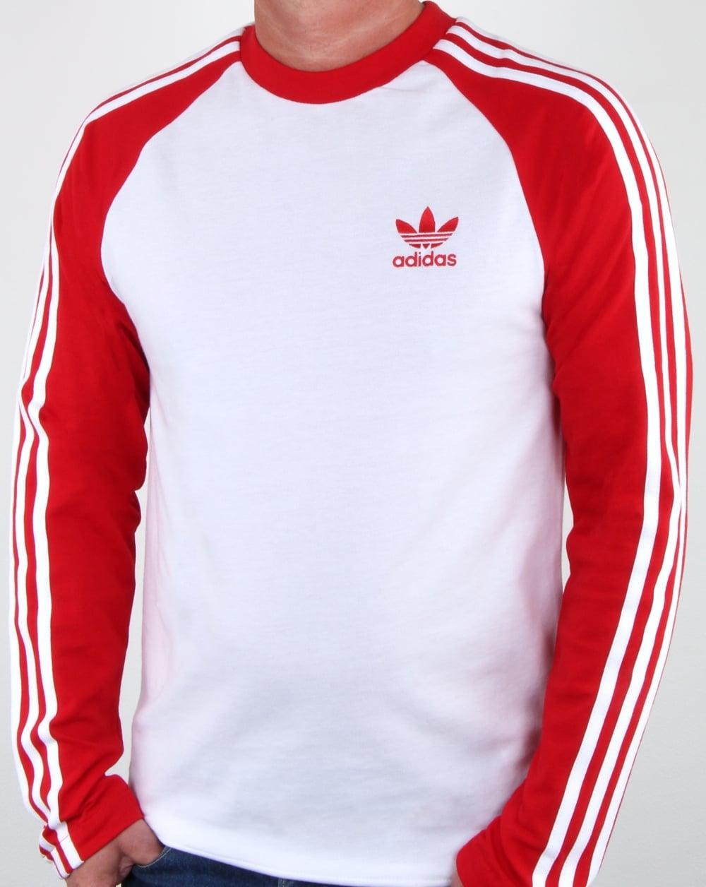 Adidas Originals Long Sleeve 3 Stripes T Shirt White Red