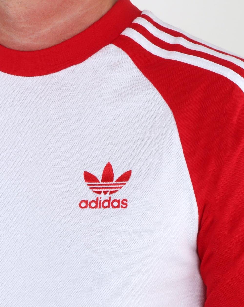 Adidas Originals Long Sleeve 3 Stripes T Shirt White red e6c6f52ea024