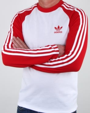 Adidas Originals Long Sleeve 3 Stripes T Shirt White/Red