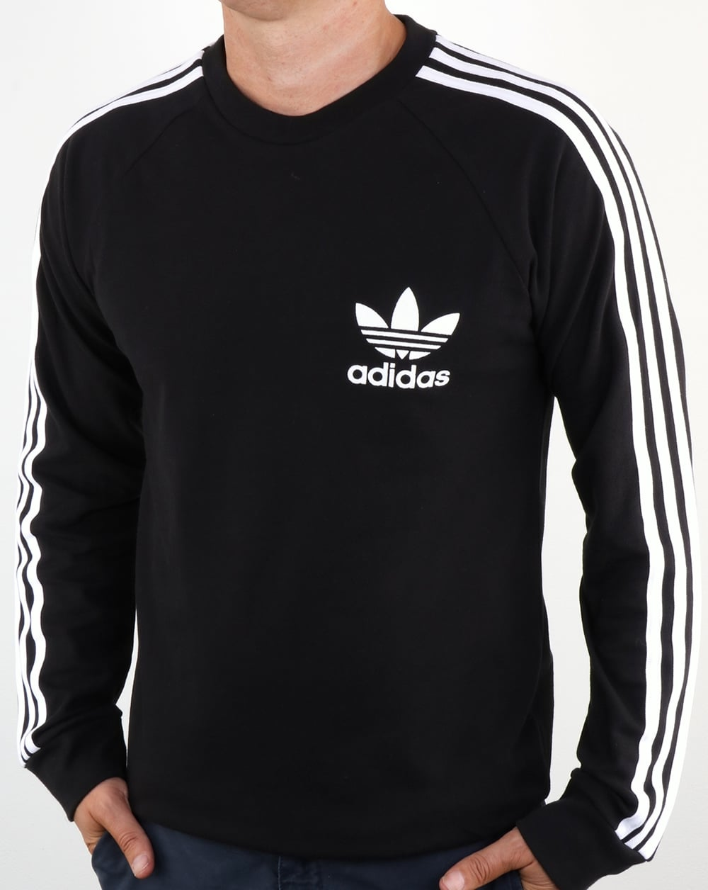 Adidas Originals Long Sleeve Pique T Shirt Black Tee Mens