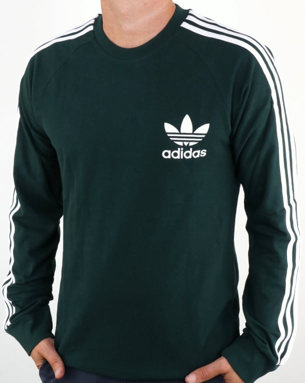 Adidas Originals Long Sleeve Pique T Shirt Green Night