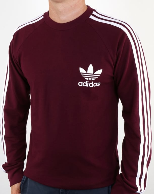 Adidas Originals Long Sleeve Pique T Shirt Maroon Tee Mens