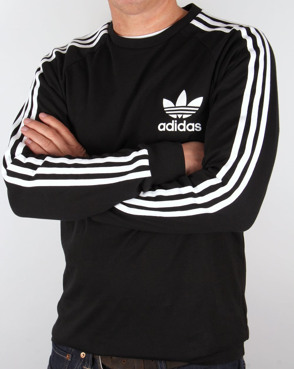 Adidas originals clfn long sleeve t shirt black trefoil for Adidas long sleeve t shirt with trefoil logo