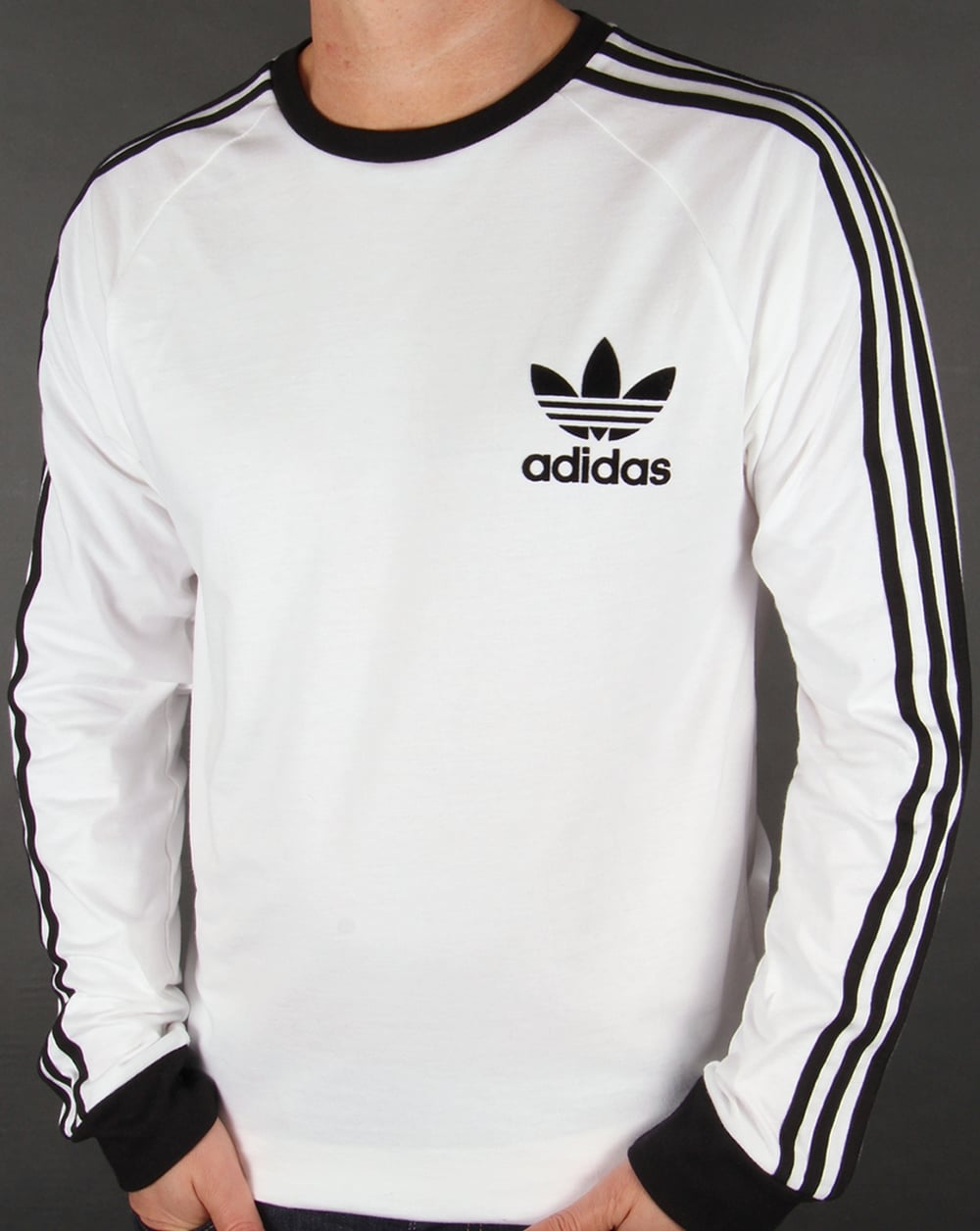 Adidas originals clfn long sleeve t shirt white trefoil for Adidas lotus t shirt