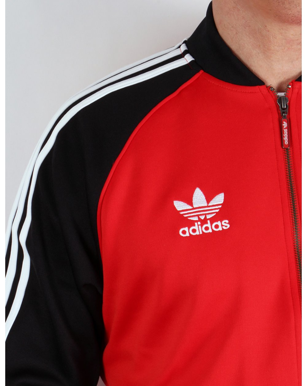 adidas superstar track top black red