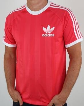 Adidas Originals Old Skool 3 Stripes T Shirt Deep Pink