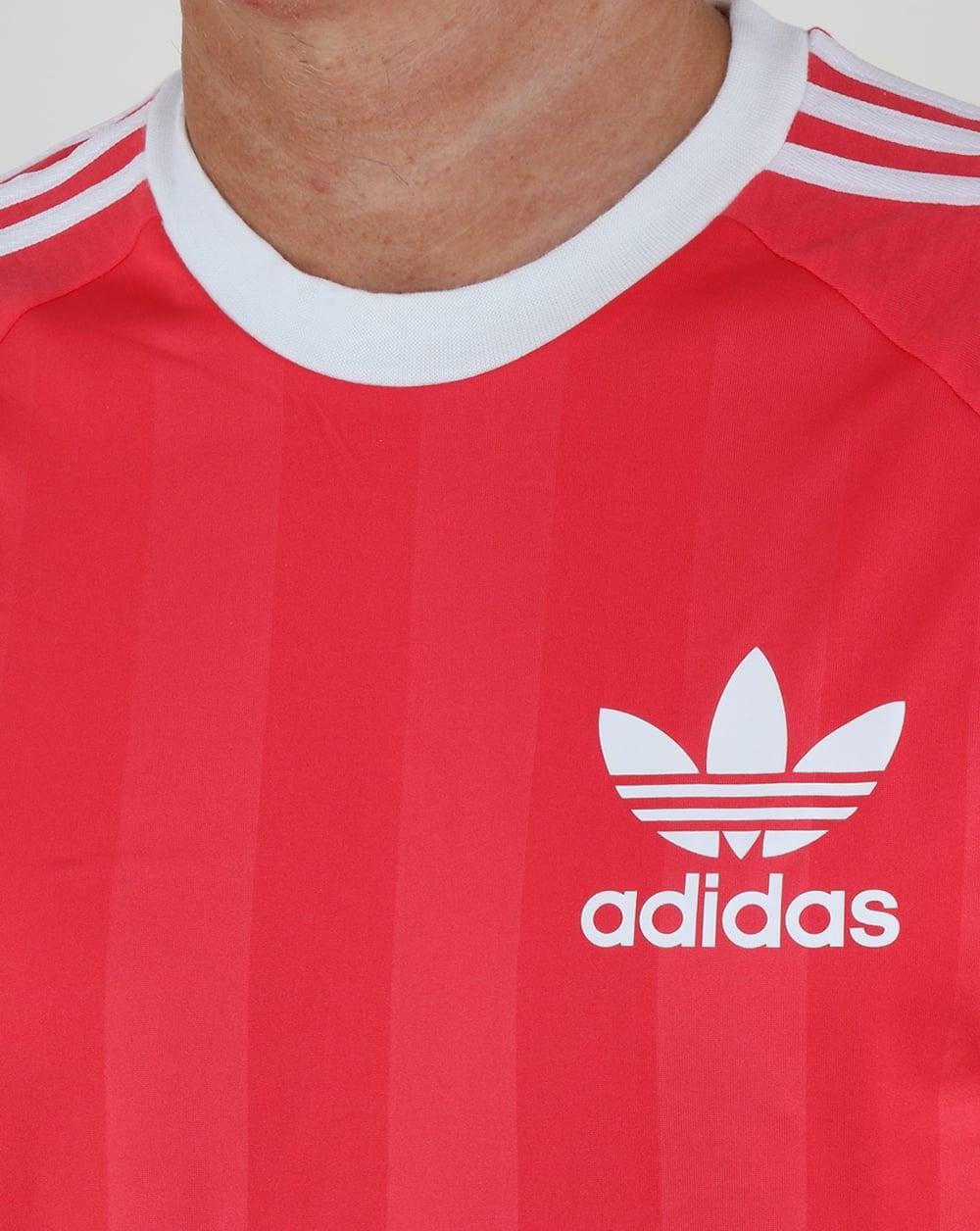 Adidas Originals California 3 Stripe T Shirt Red | Toffee Art
