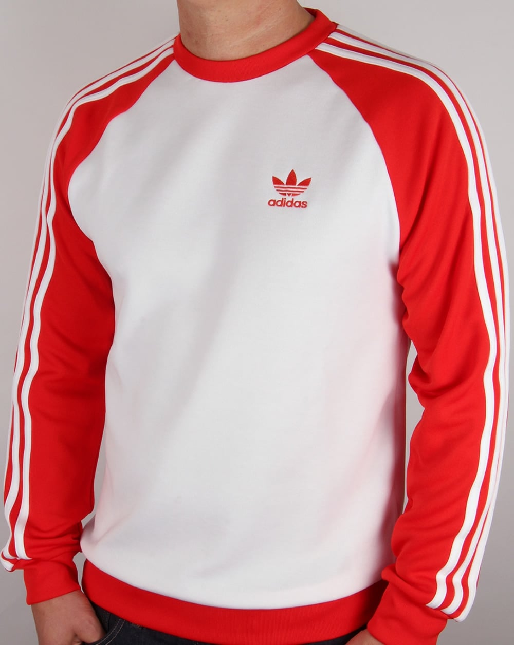 49bf35b2768d adidas Originals Adidas Originals Old Skool Sweat Top White Red