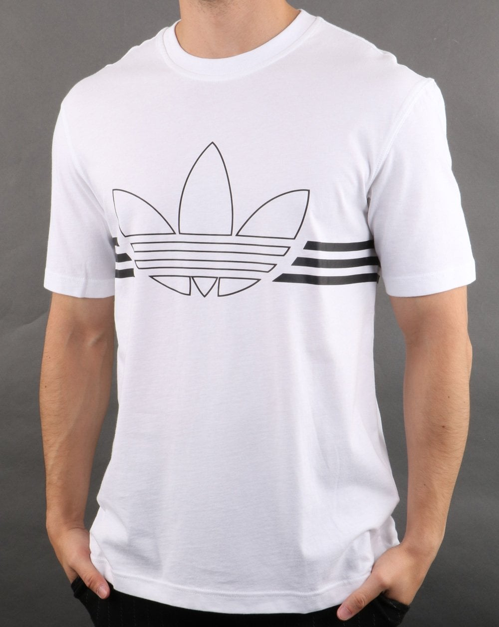 the cheapest hot sales wide varieties Adidas Originals Outline Trefoil T Shirt White
