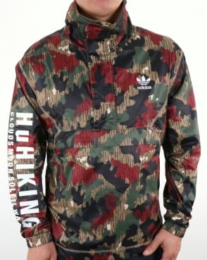 Adidas Originals Pw Hu Half Zip Windbreaker Camo