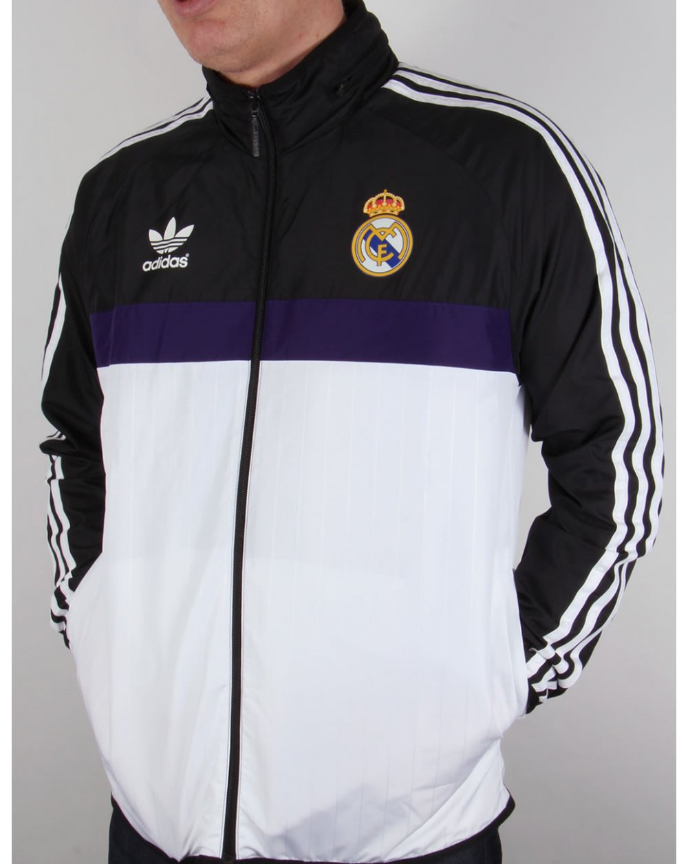adidas originals real madrid windbreaker white black. Black Bedroom Furniture Sets. Home Design Ideas