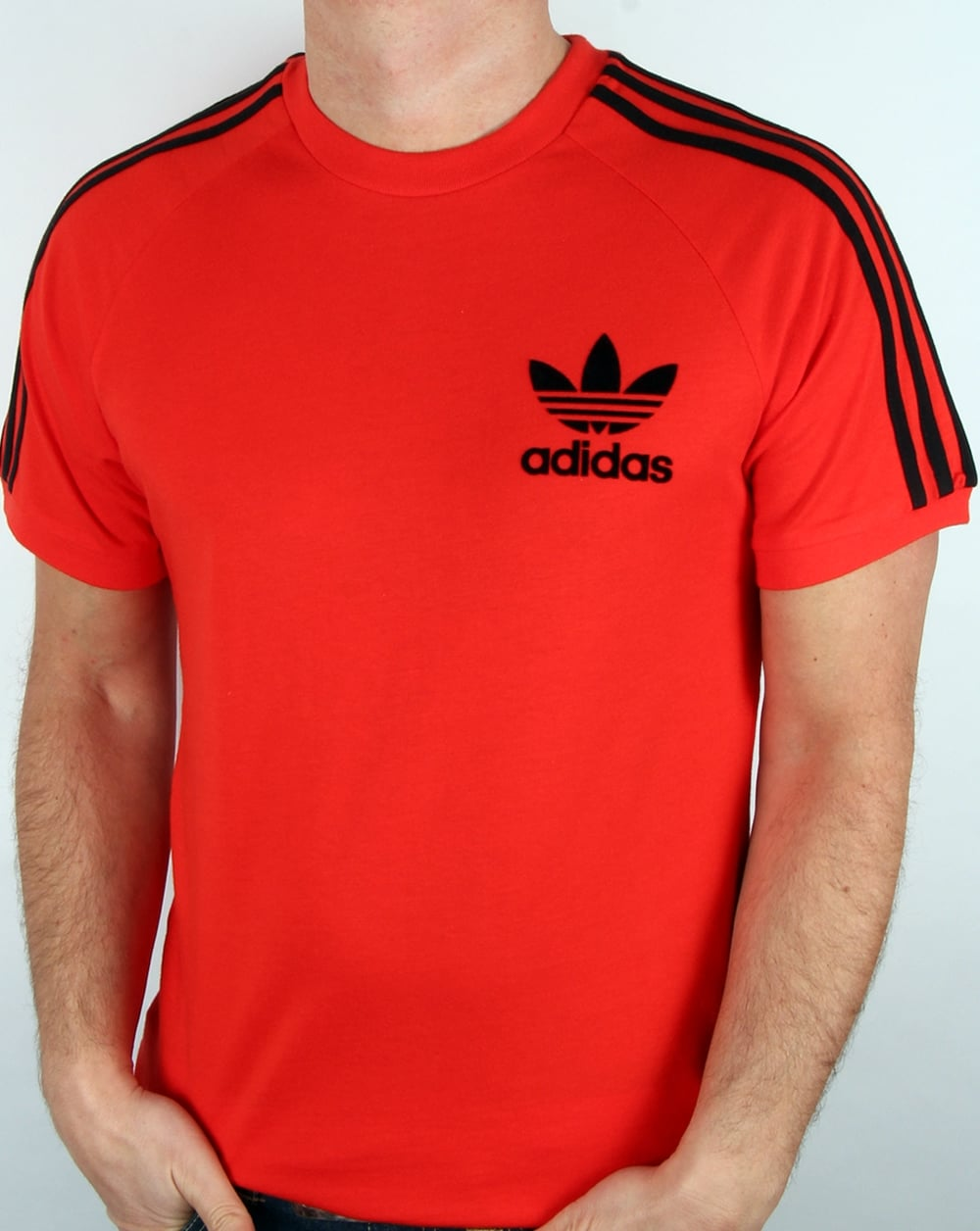 adidas Originals Adidas Originals Retro 3 Stripe T Shirt Core Red 27ea44ab95
