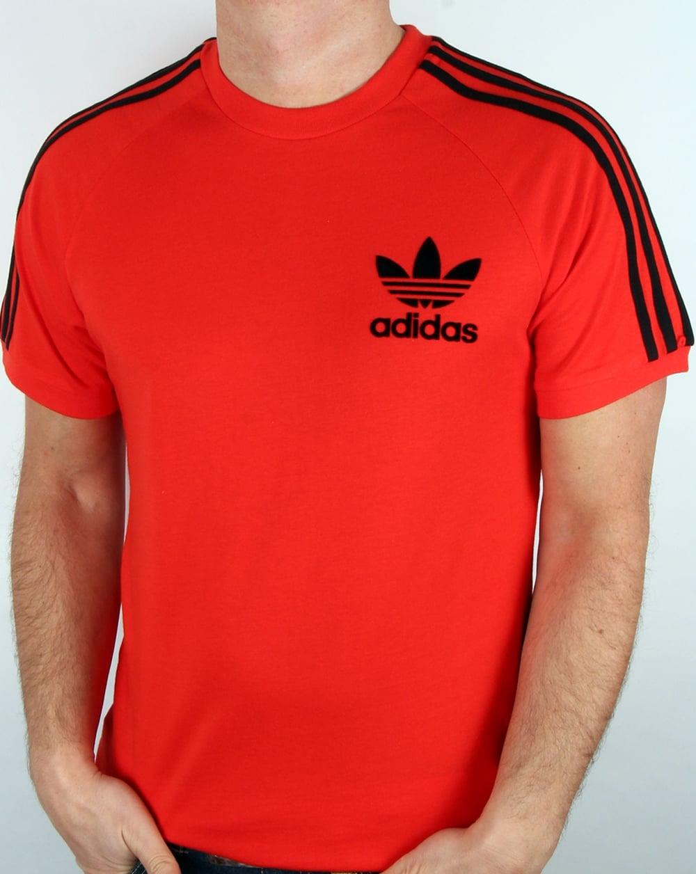 adidas originals retro 3 stripes t shirt core red
