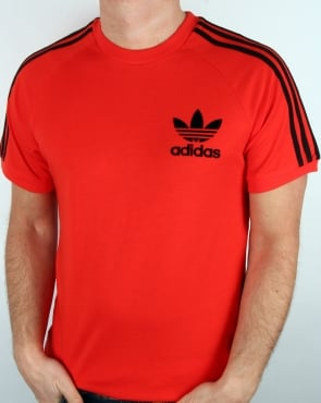 Adidas Originals Retro 3 Stripe T Shirt Core Red