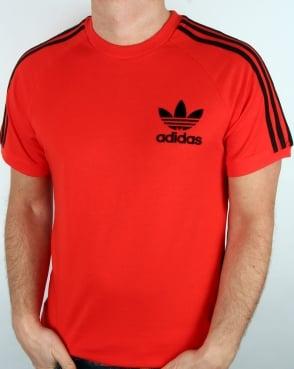 Adidas Originals Retro 3 Stripe T Shirt Core Red