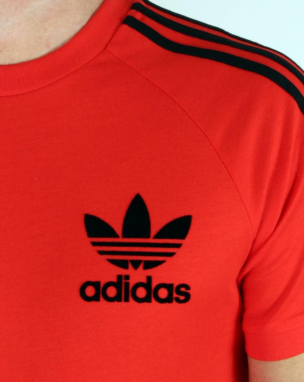 7e18ae7d Adidas Originals Retro 3 Stripes T Shirt Core Red,california,trefoil,tee