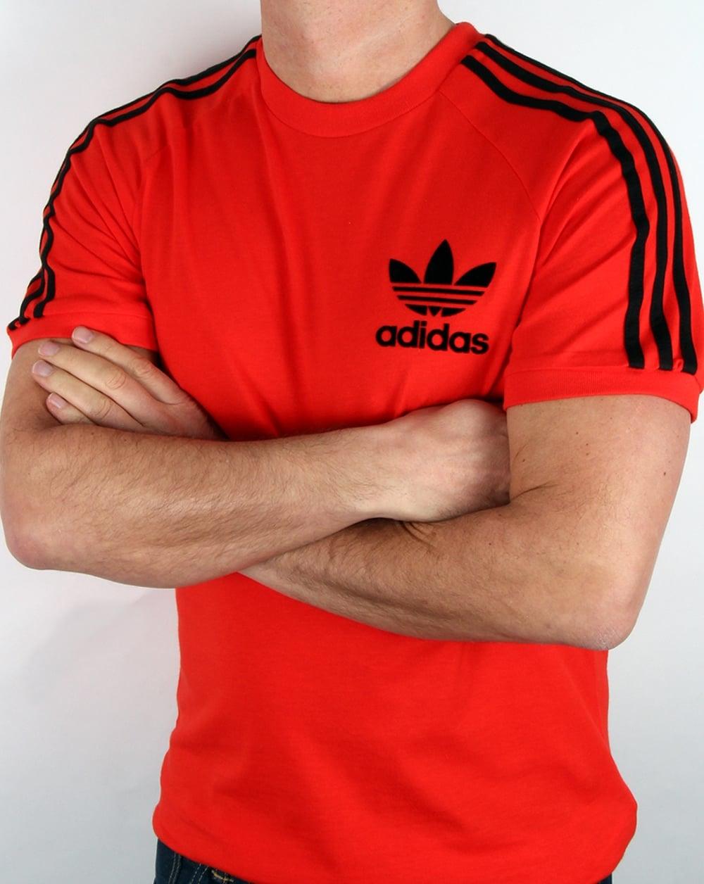 Adidas Originals Retro 3 Stripes T Shirt Core Red f1c1dc2b41ac