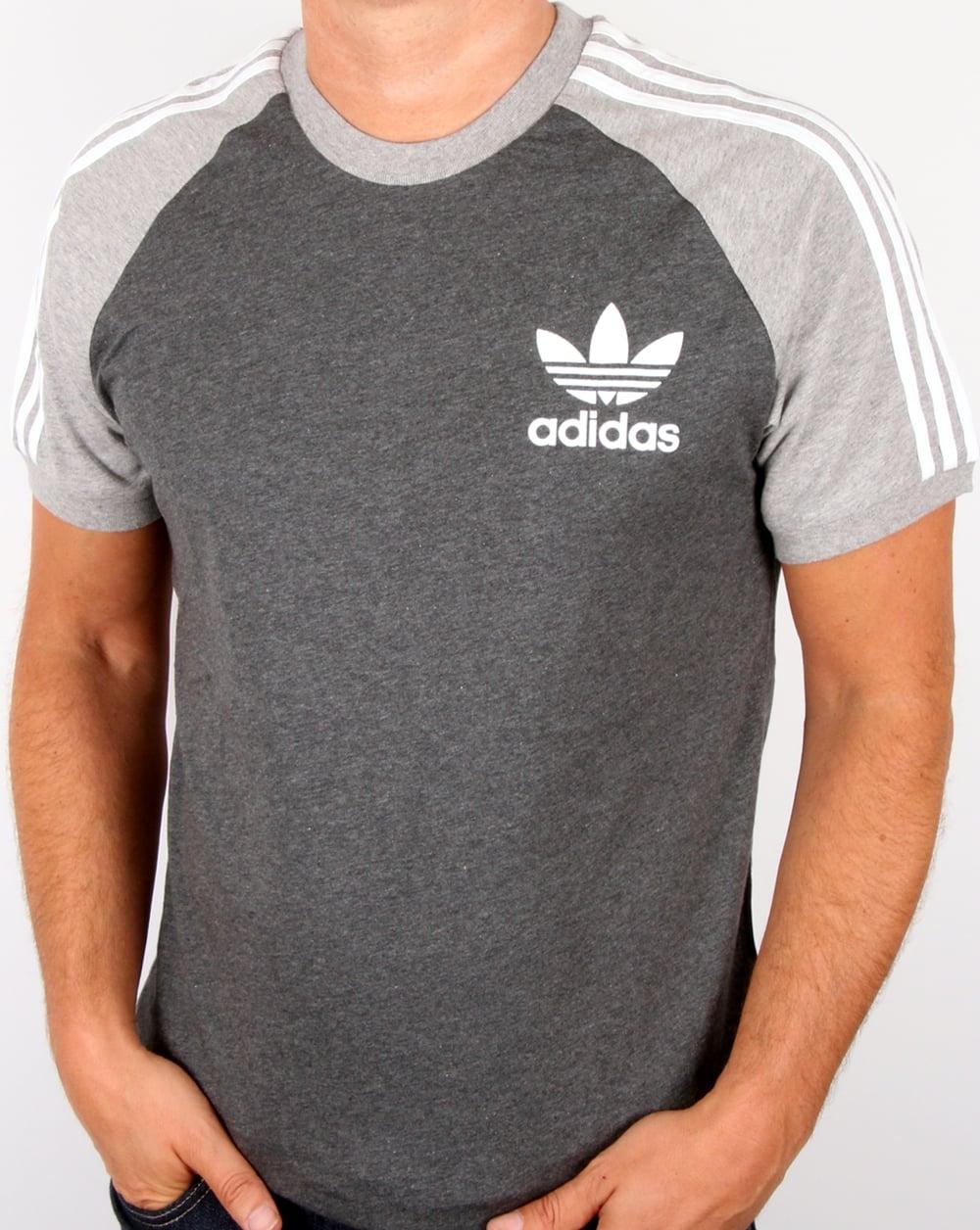 Adidas originals retro 3 stripe t shirt dark grey light Grey striped t shirt