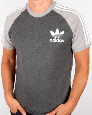 Adidas Originals Retro 3 Stripe T-shirt Dark Grey/light Grey