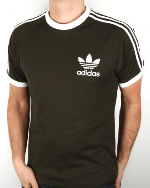 Adidas Originals Retro 3 stripe T Shirt Khaki/White