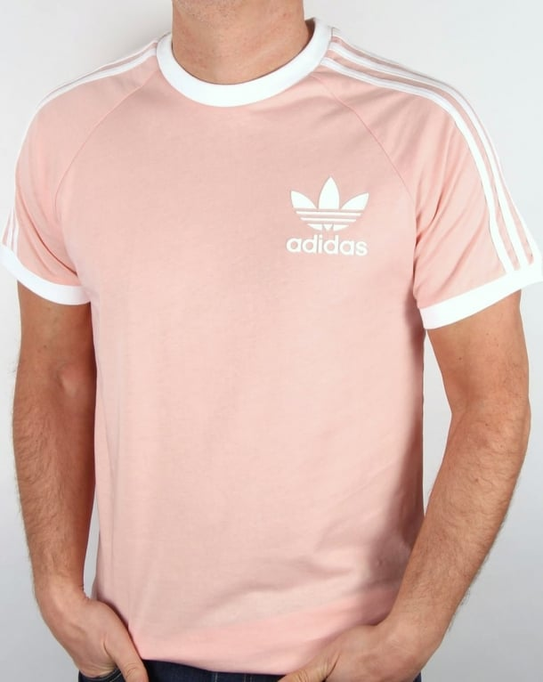 Adidas originals retro 3 stripes t shirt light pink for Adidas ringer t shirt