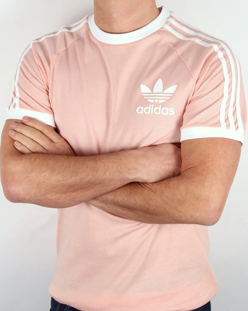Adidas Originals Retro 3 Stripe T Shirt Light Pink