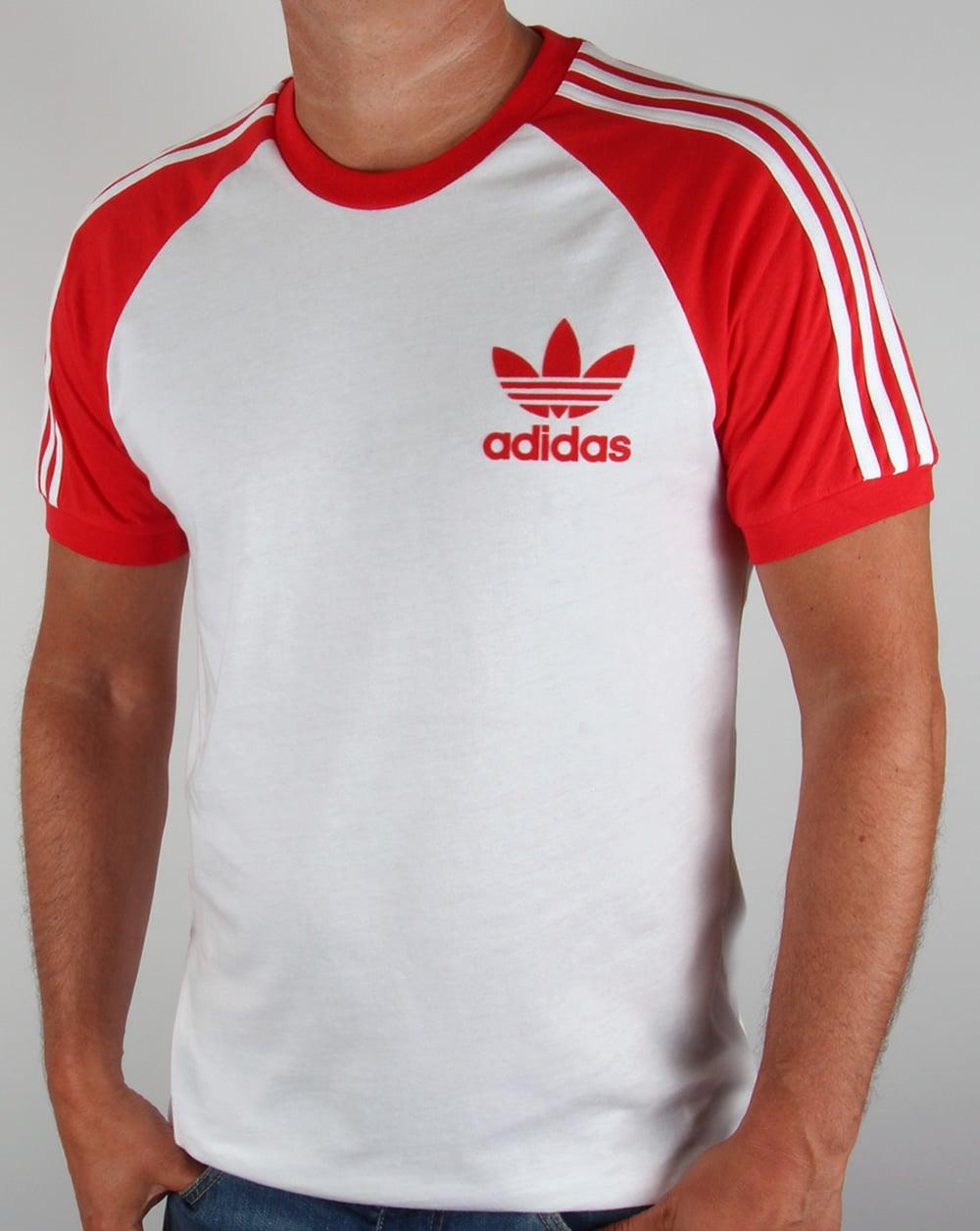 adidas originals retro 3 stripe t shirt white red