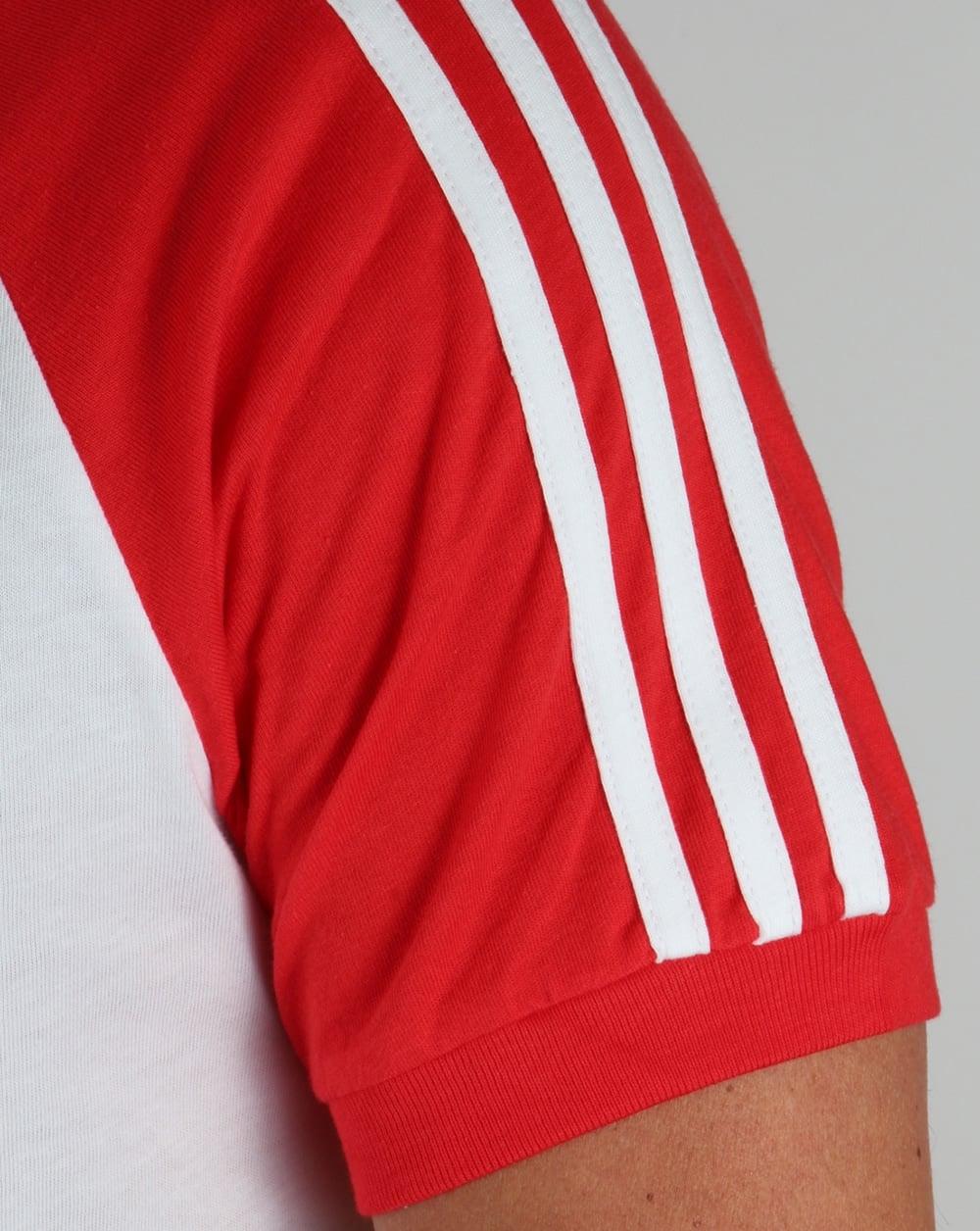 adidas originals retro 3 stripe tshirt whitered
