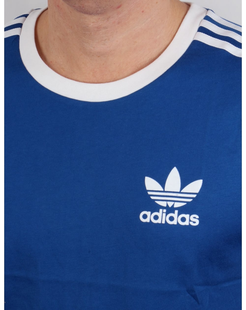 adidas originals white 3 stripe trefoil retro t-shirt