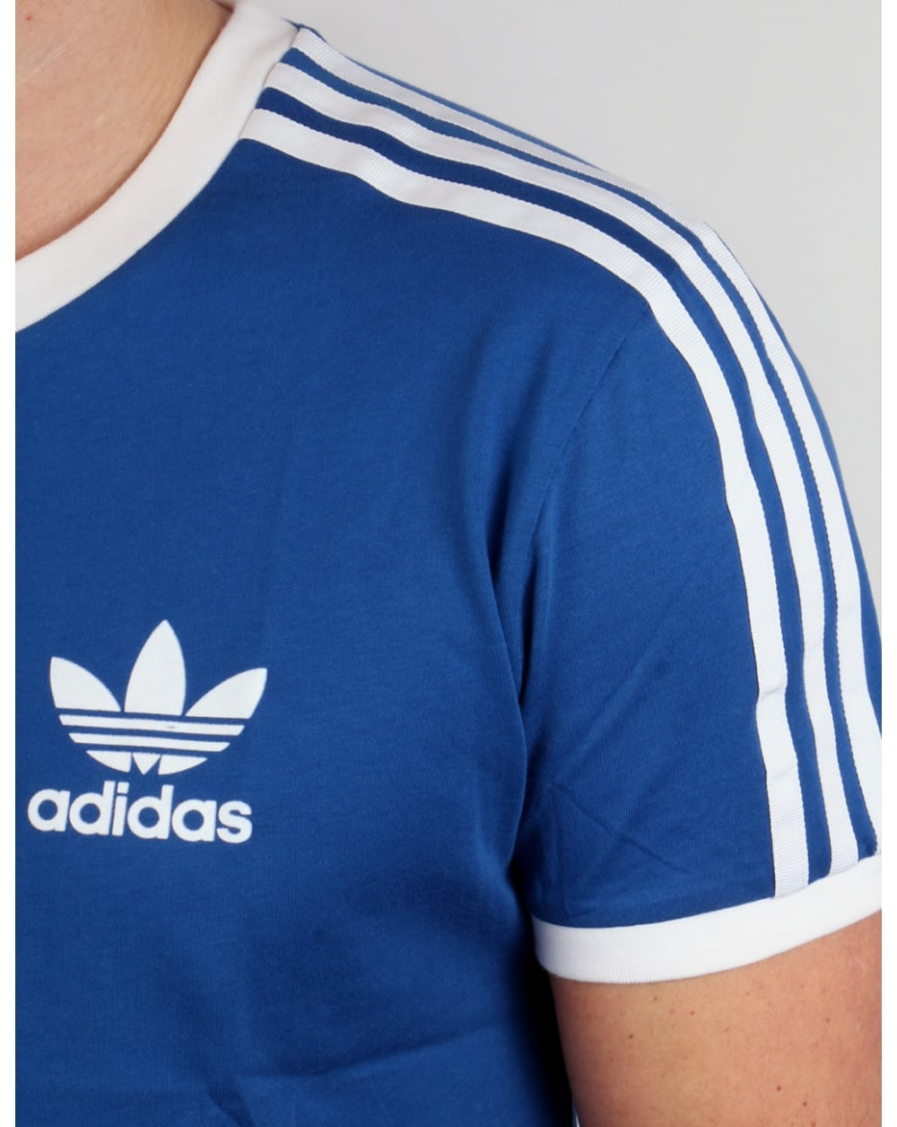 Adidas originals retro 3 stripes t shirt adidas blue for Adidas lotus t shirt