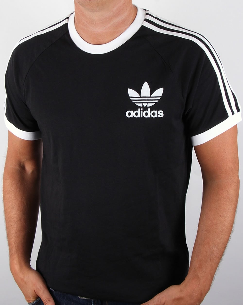 adidas originals retro 3 stripes t shirt black california. Black Bedroom Furniture Sets. Home Design Ideas