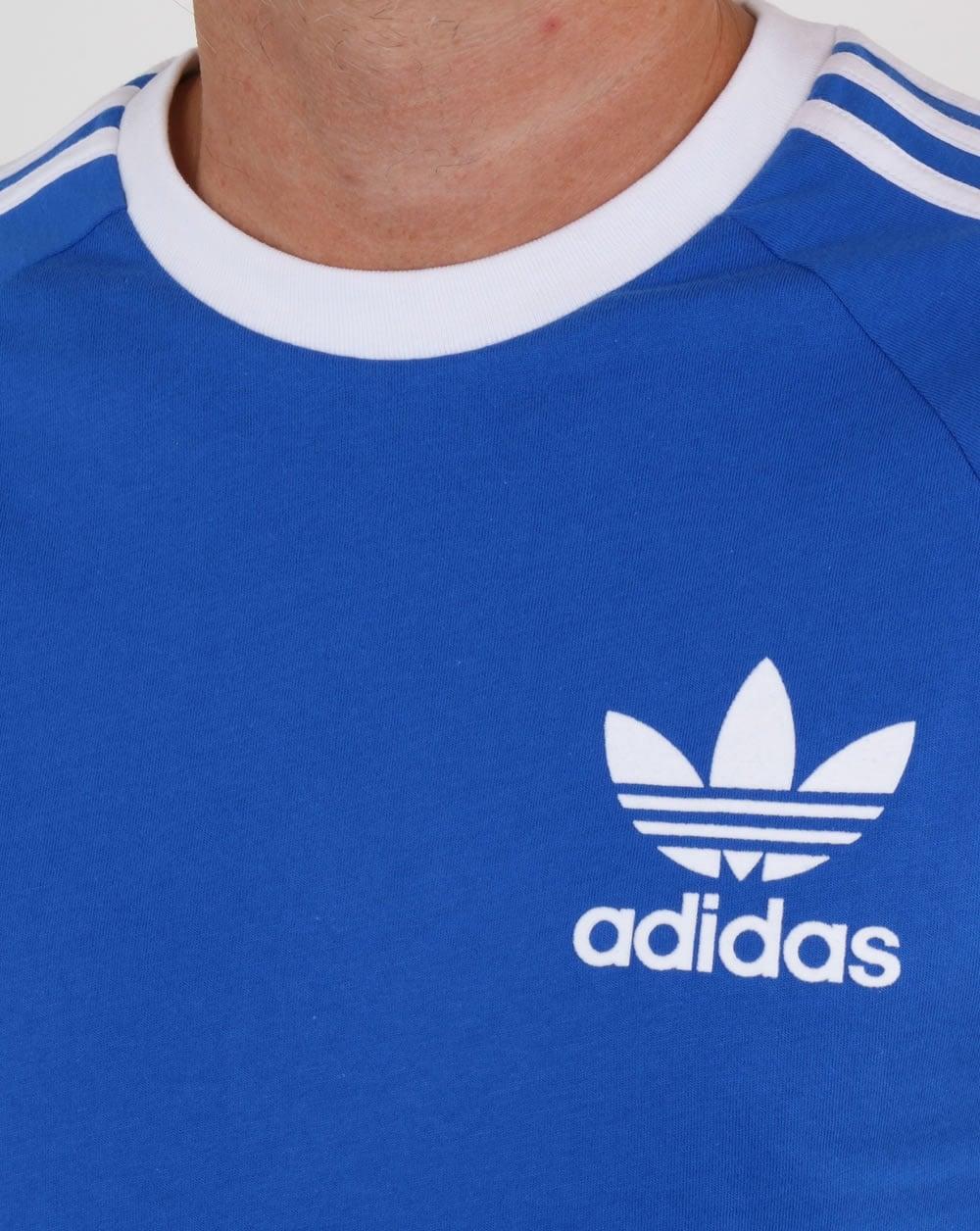 Adidas Originals Retro 3 Stripes T Shirt Blue white