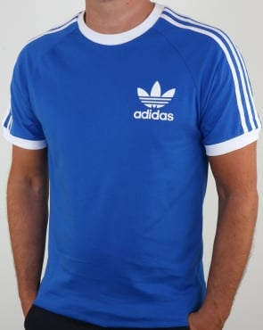 Adidas Originals Retro 3 Stripes T Shirt Blue white