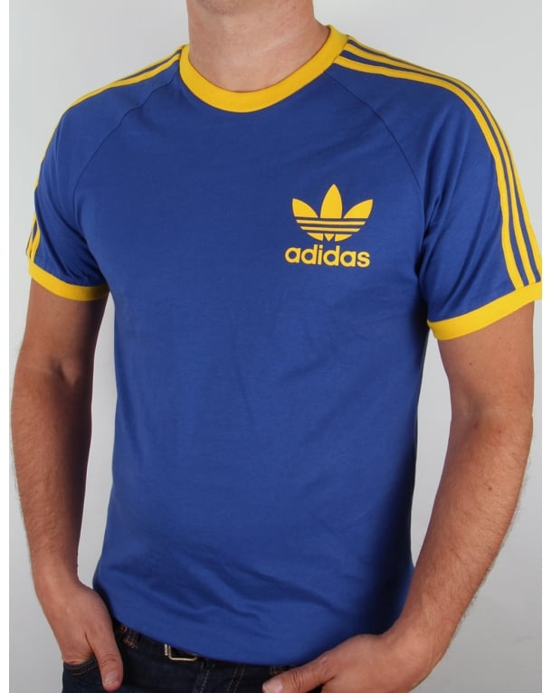 Adidas Originals Retro 3 Stripes T-shirt Blue/Yellow