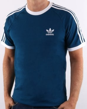competitive price 13d62 096ad Adidas Originals Retro 3 Stripes T Shirt Deep Blue