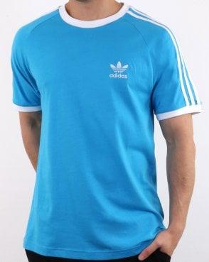 5bf8423e1b1 Adidas Originals Retro 3 Stripes T Shirt Electric Blue