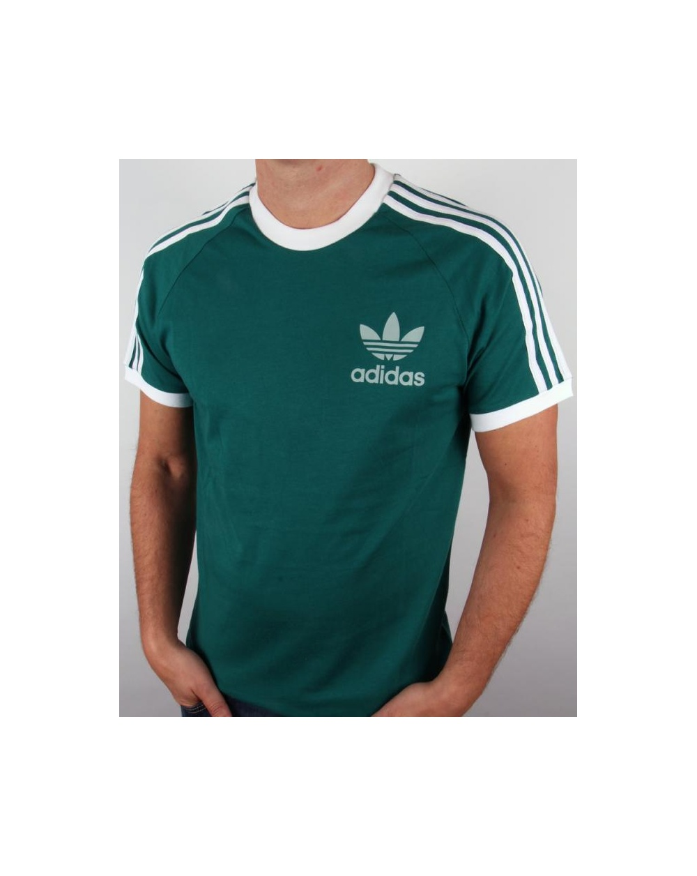 Adidas originals retro 3 stripes t shirt emerald green for Adidas lotus t shirt